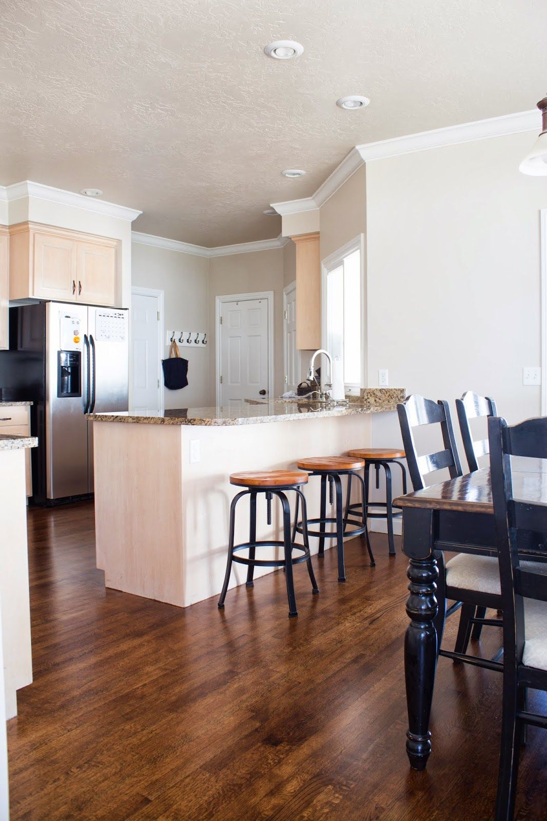 DIY How to Refinish Harwood Floors. Kitchen before and