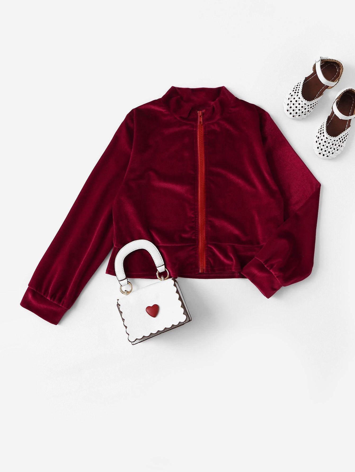 d1dc6ae82ee Girls Mock-neck Ruffle Hem Zipper Velvet Jacket #girl #ideas #fashion  #trend #moda
