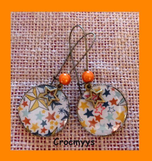 Grandes boucles d'oreilles liberty adelajda orange : Boucles d'oreille par crocmyys