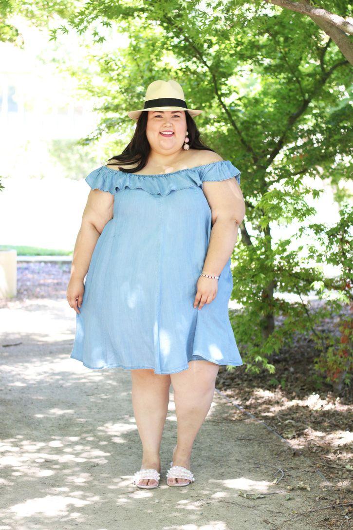da47d40b607 Simple summer plus size outfit! Torrid off the shoulder denim dress ...