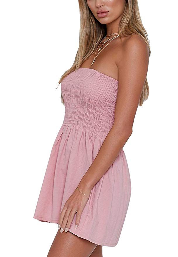 475510484a Women s Summer Cover Up Strapless Dresses Solid Tube Top Beach Mini Dress (M