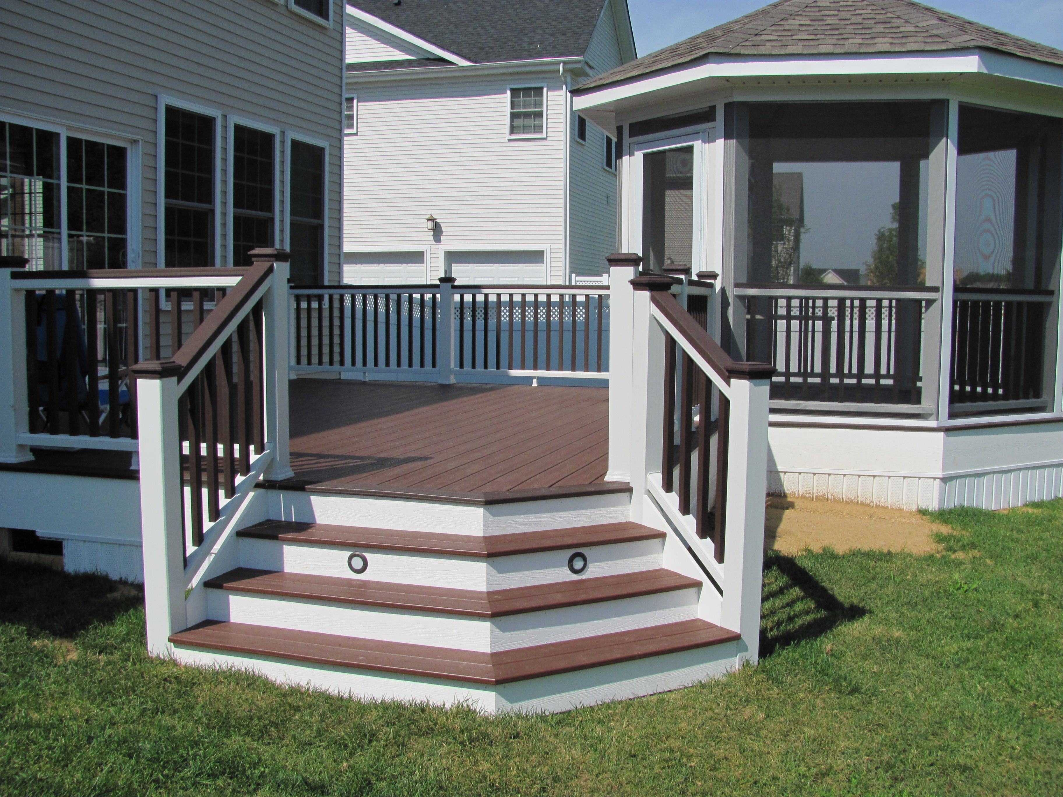 Trex deck with screened gazebo create your space for Decks and gazebos