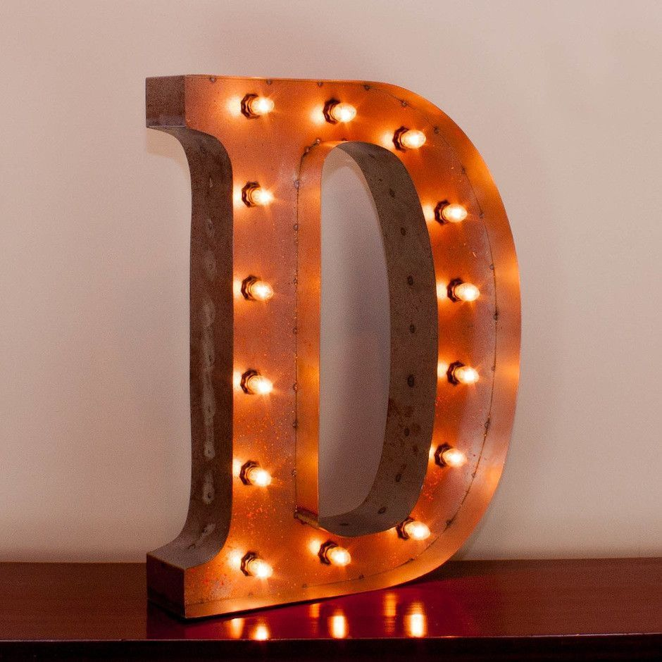 "24 Inch Metal Letters 24"" Letter D Lighted Vintage Marquee Letters With Screwon Sockets"