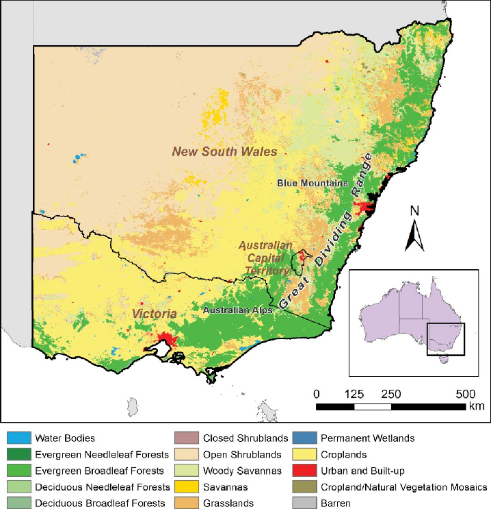 Map Of Nsw And Victoria Australia.Vegetation Classes In New South Wales And Victoria Maps Of