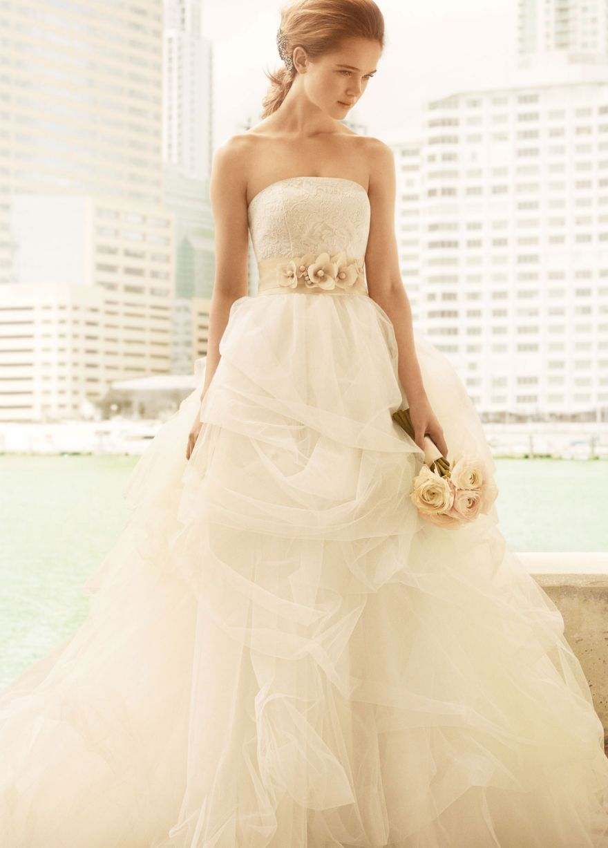 Ball Gown with Corded Lace Bodice and Tulle Skirt - David\'s Bridal ...