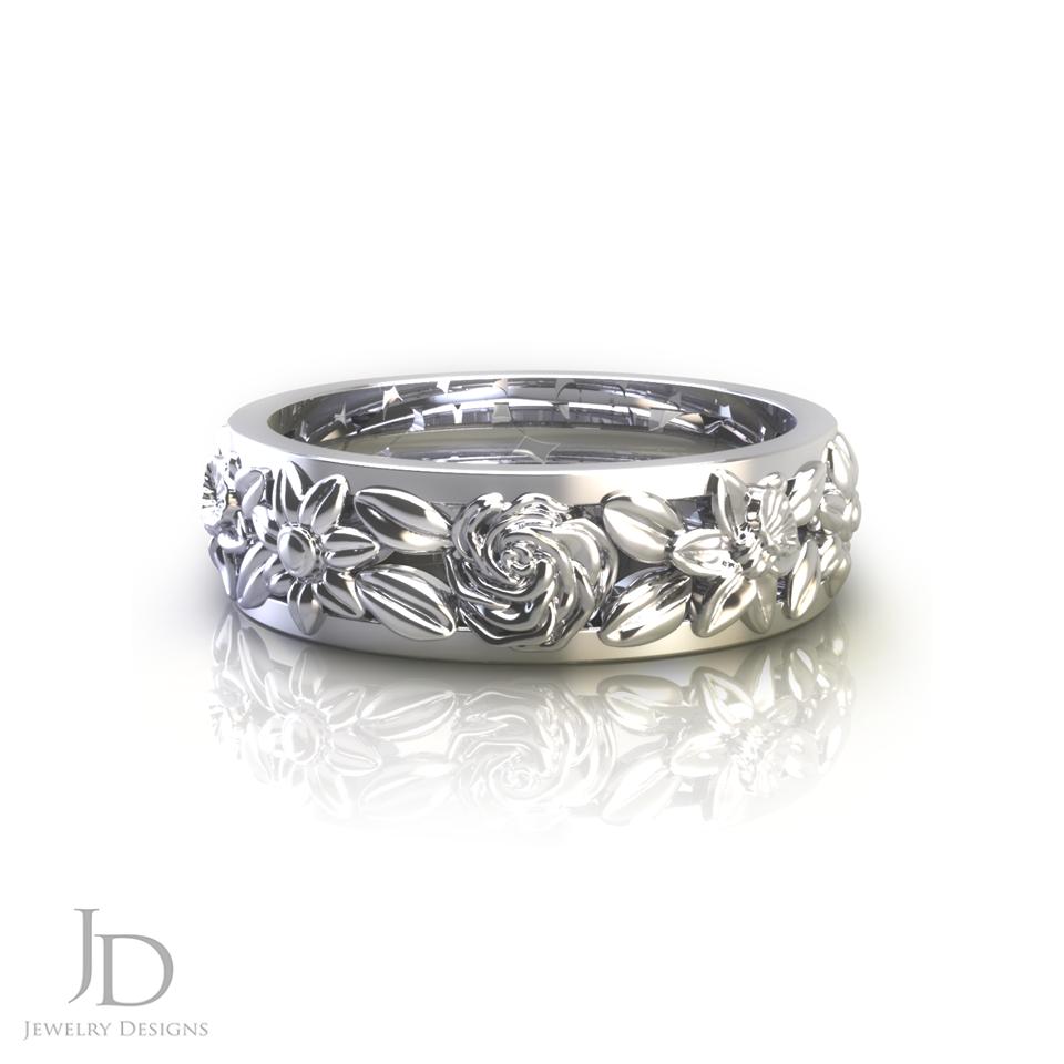 Rose Gold Floral Wedding Ring in 2020 Wedding rings