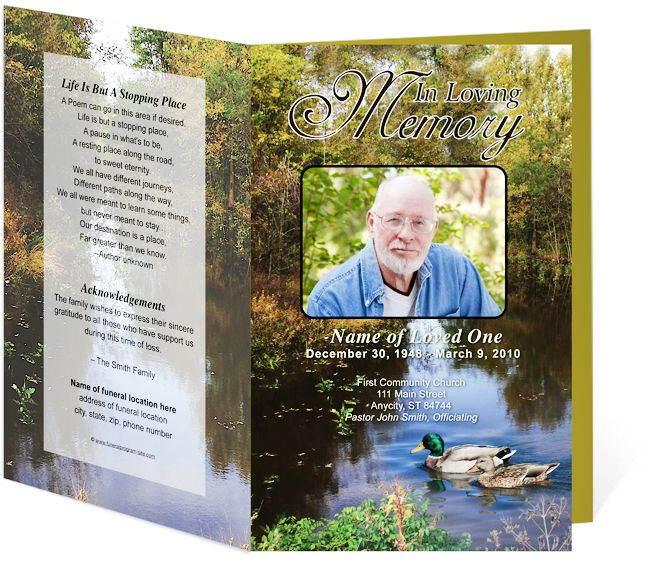 DuckPond Themed Obituary Template for an Order of Service - memorial pamphlet template free