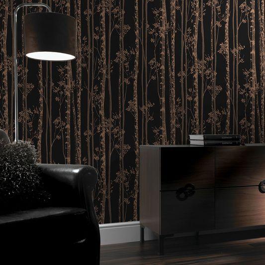 Best Linden Black And Copper Wallpaper Large Papier Peint 400 x 300