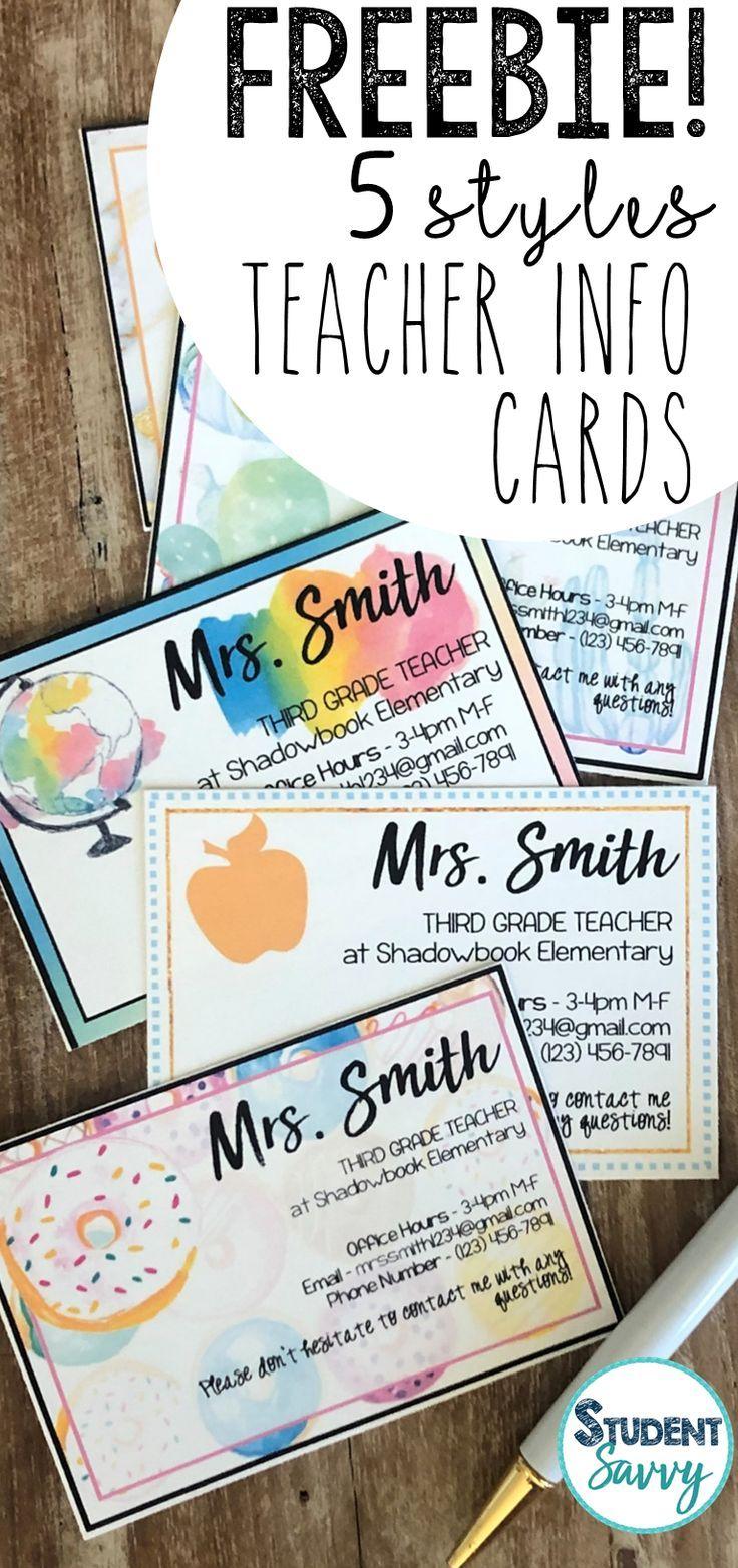 Teacher Information Cards - Open House Free