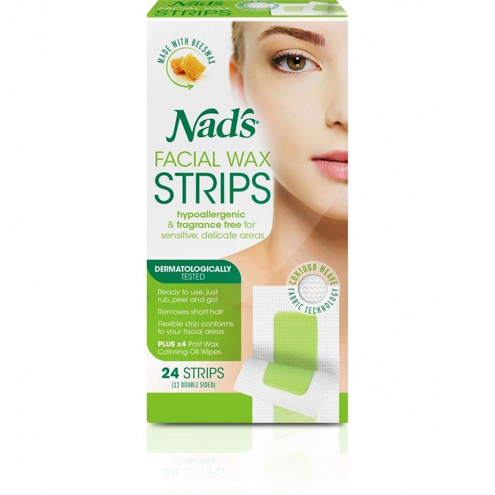 Nad's Facial Wax Strips 24ct UnwantedHairRemovalTips in