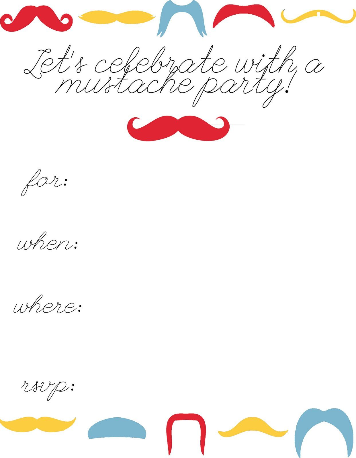 Inside Mustache Party Invitations