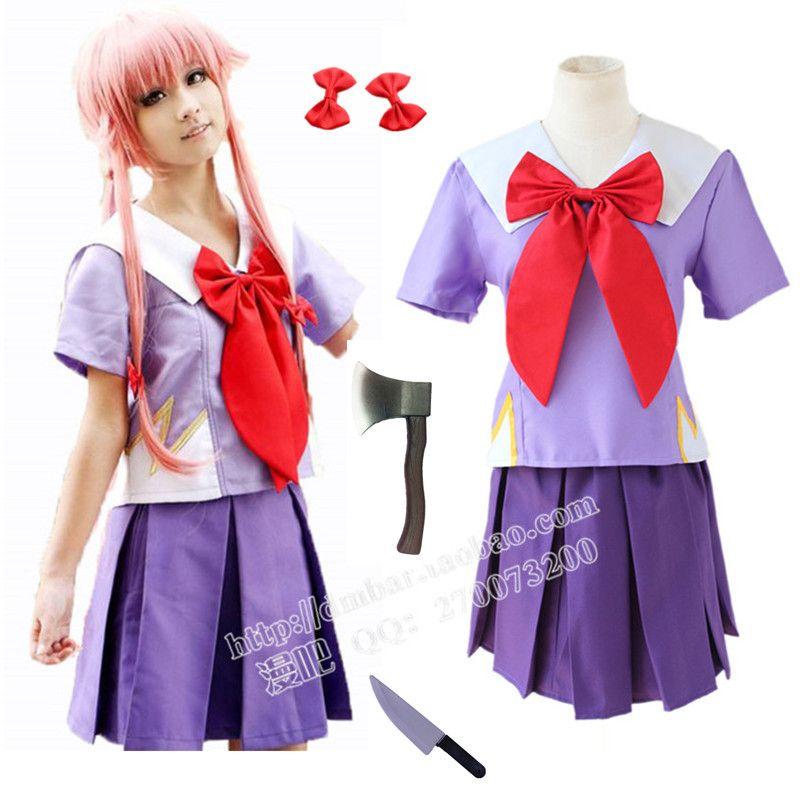 Free Shipping New Arrival Women Halloween Anime Future Diary 2nd Mirai Nikki Yuno Gasai Costume Cosplay