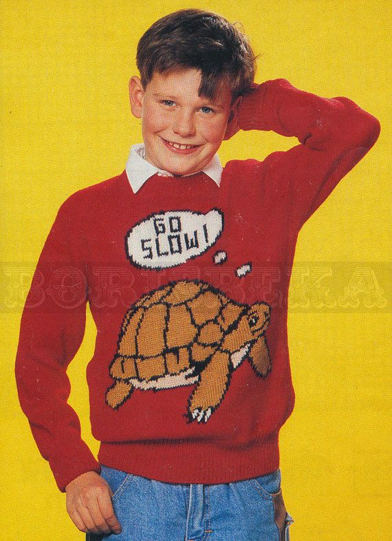 vintage Adult & Childs TORTOISE jumper knitting pattern ...
