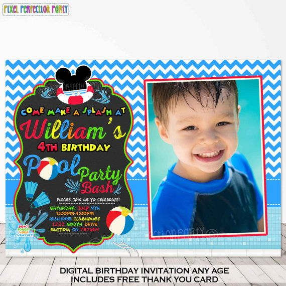 Digital mickey mouse summer thank you card mickey mouse swim party thank you card Mickey mouse pool party thank you card