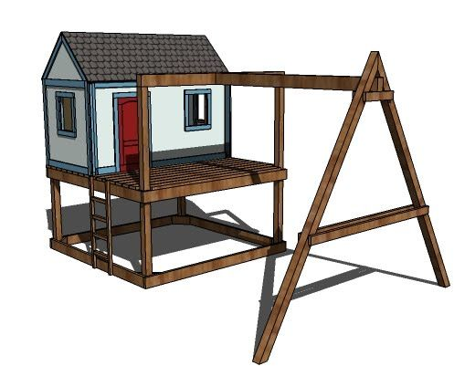 Ana white build a how to build a swing set for the for Simple outdoor playhouse plans
