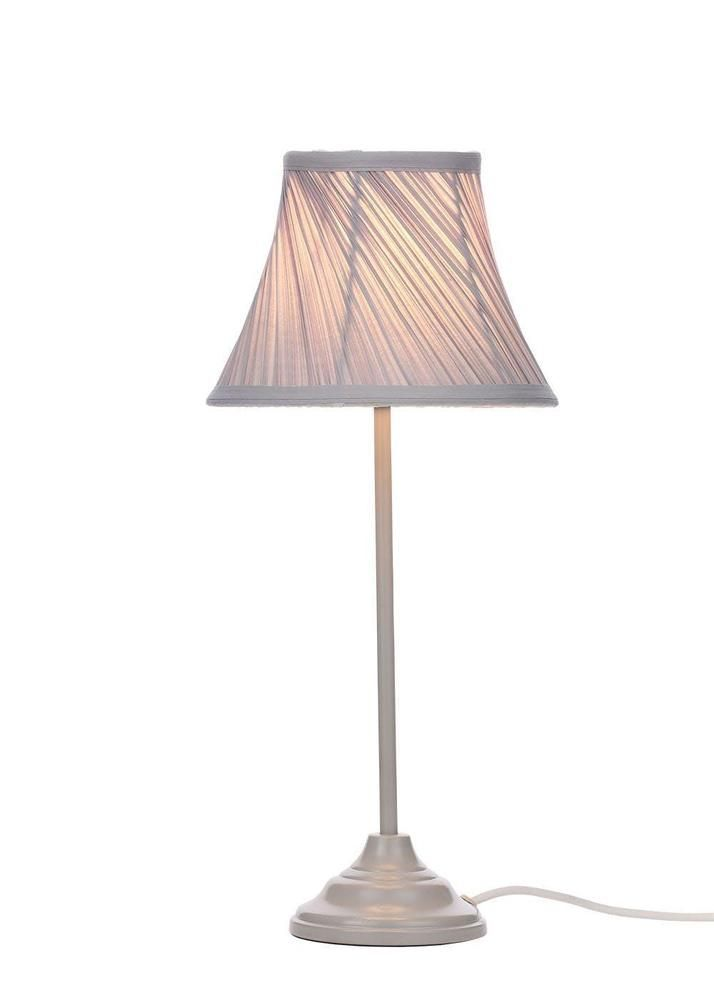 Grey Pleated Shade Table Lamp Silver Base Bedside Light