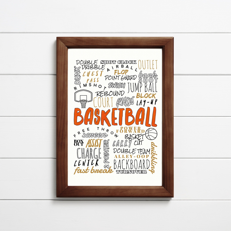Basketball Wall Art Basketball Typography Basketball Kids Etsy