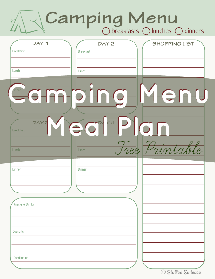 Camping Menu Meal Planning Printable Pdf  Camping Menu Free