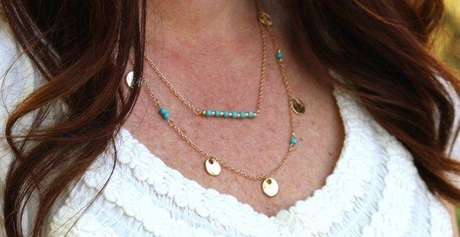 Boho Turquoise & Gold Layered Necklace ~ Flat Rate Shipping!