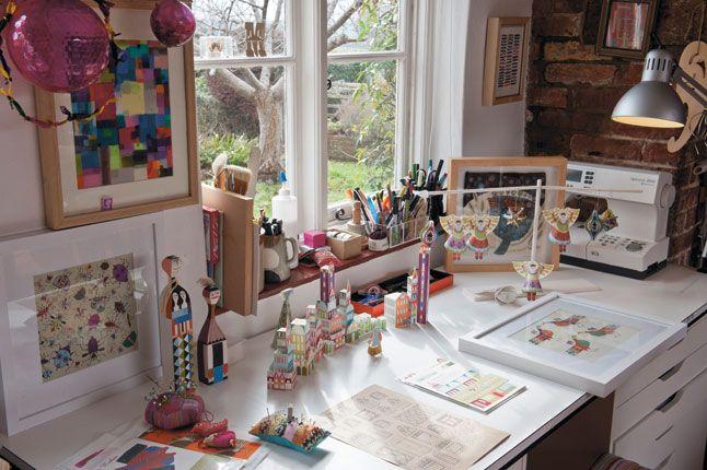 Bedroom Desk Art Window Light Textile Artists Creative Arts Studio Beautiful Homes