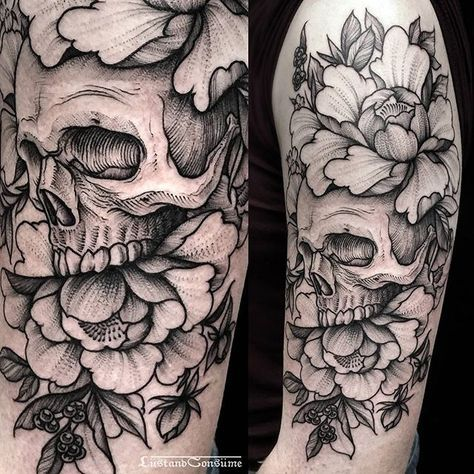 """Photo of Phil Tworavens on Instagram: """"🌸💀 Skull, peonies and wild berries for Corlyn💀🌸 thank you! + Done at @daredeviltattoo +  Currently fully booked. Bookings are closed now. +…"""""""