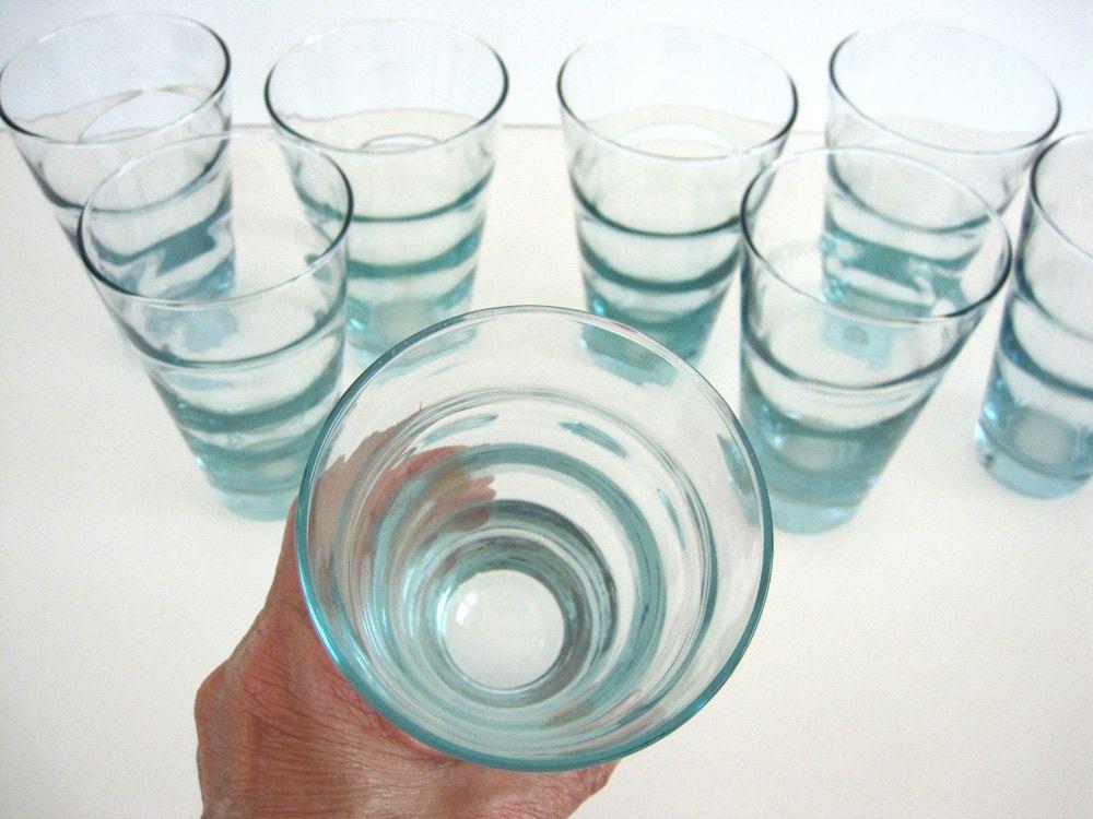 Vintage Glass Tumbler Set Of 4 Aqua Ripple Blue Beverage Ice Glass Tumbler Glassware Aqua