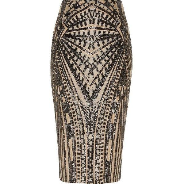 River Island Gold geo sequin midi pencil skirt ($110) ❤ liked on ...