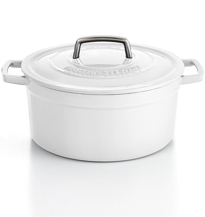 Round Casserole Martha Stewart Collection Collectors Enameled Cast Iron 8 Qt oyster