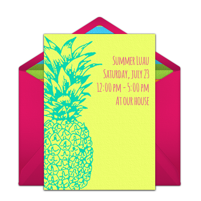 Customizable Free Summer Pineapple Online Invitations Easy To Personalize And Send For A Party Punchbowl