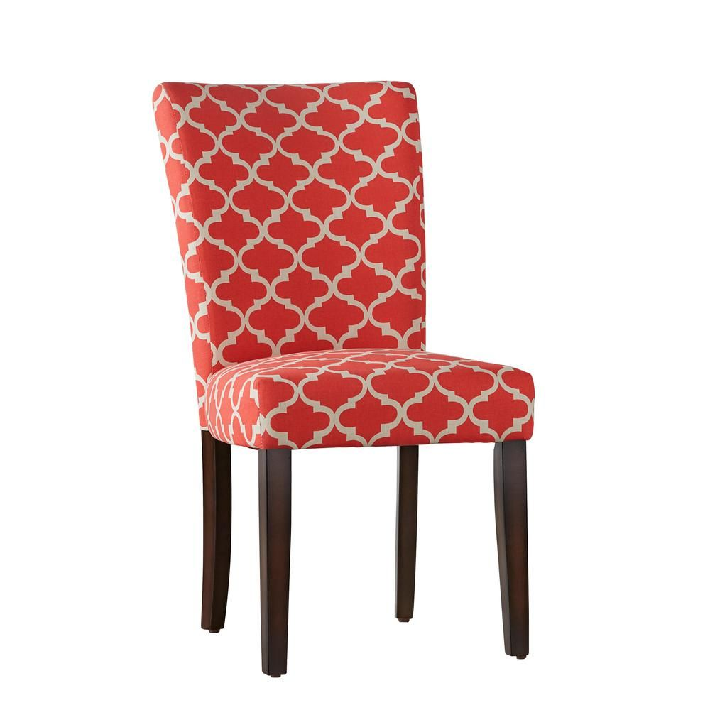 Homesullivan Espresso Samba Red Pattern Fabric Parson Chair Set Of 2 Brown Upholstered Dining Chairs Dining Chairs Red Pattern