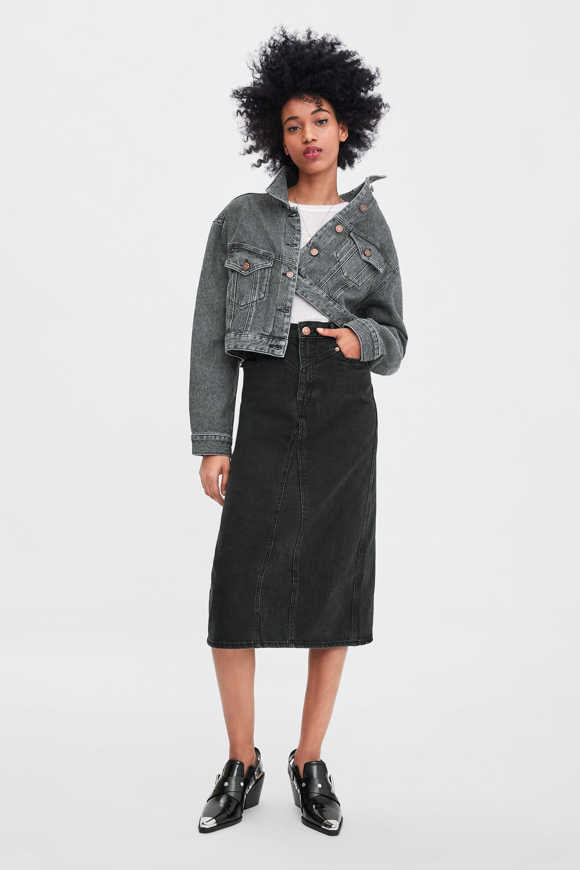 Cropped denim jacket Cropped denim jacket, Denim midi