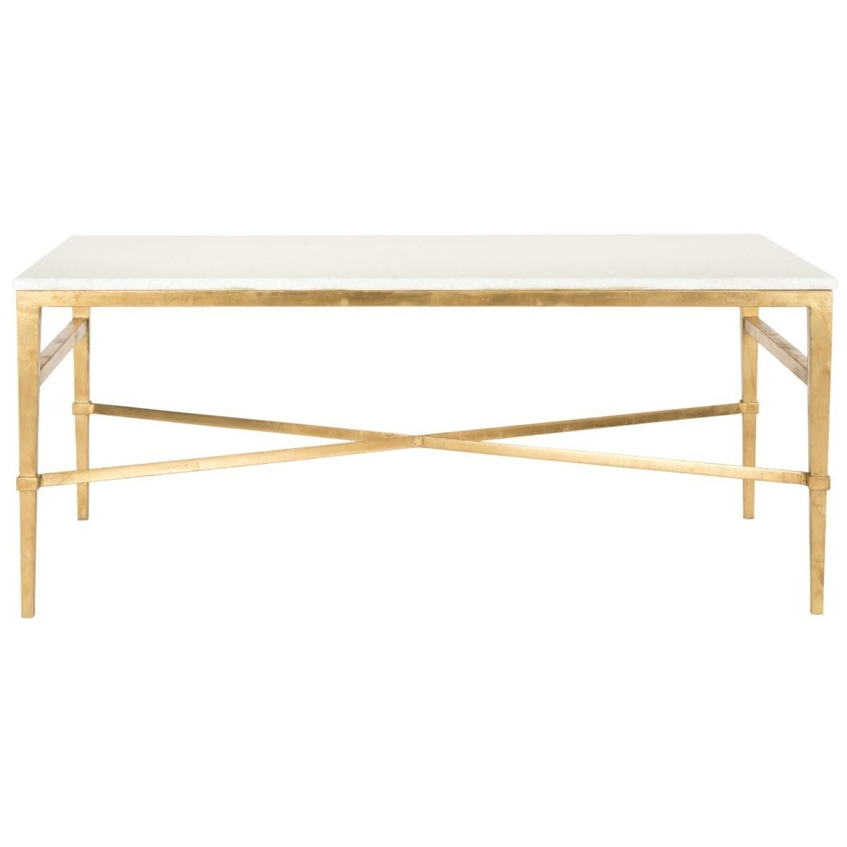 The Well Appointed House Gold Leaf Cocktail Table with White Marble