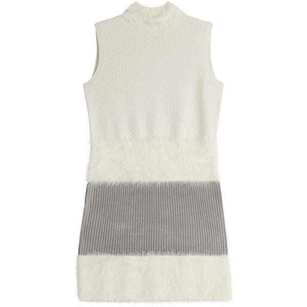 Diane von Furstenberg Mini Dress ($328) ❤ liked on Polyvore featuring dresses, white, round neck dress, short white dresses, slimming dresses, panel dress and diane von furstenberg dress