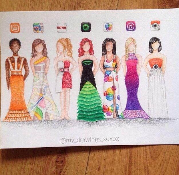 Colored pencil drawing of social media girls. Social