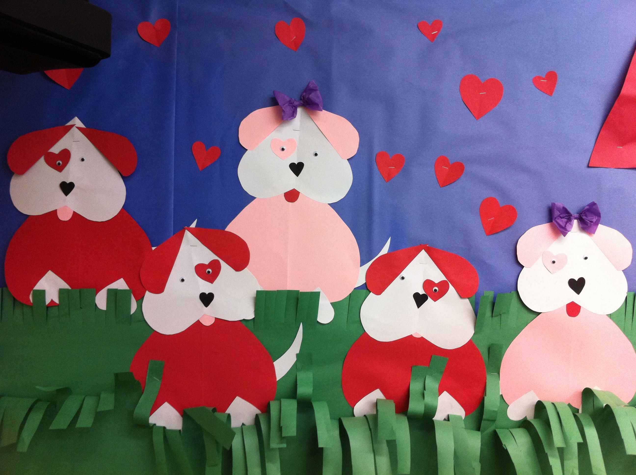 February Valentine puppy bulletin board