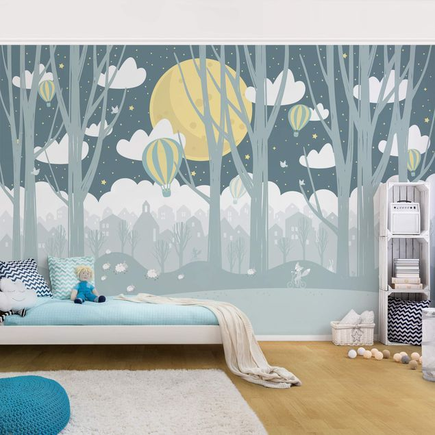 Vliestapete Kinderzimmer Mond mit Bäumen und Häusern