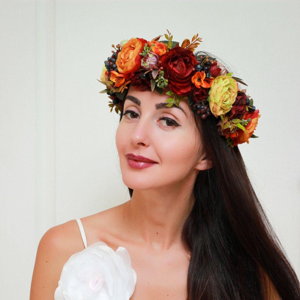 Fall Flower Crown Autumn Wreath Fall Weddings Flower Halo Bridal
