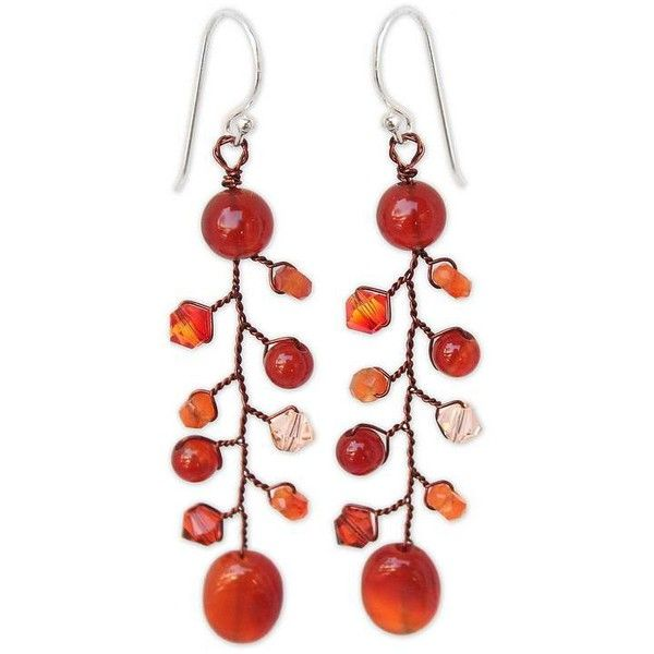 Novica Carnelian dangle earrings, Blossom Glimmer