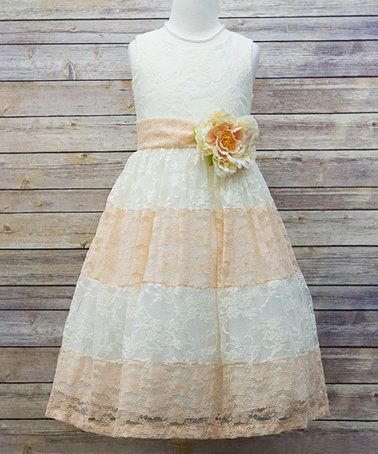 Loving this Ivory & Peach Lace Color Block Dress - Toddler & Girls on #zulily! #zulilyfinds