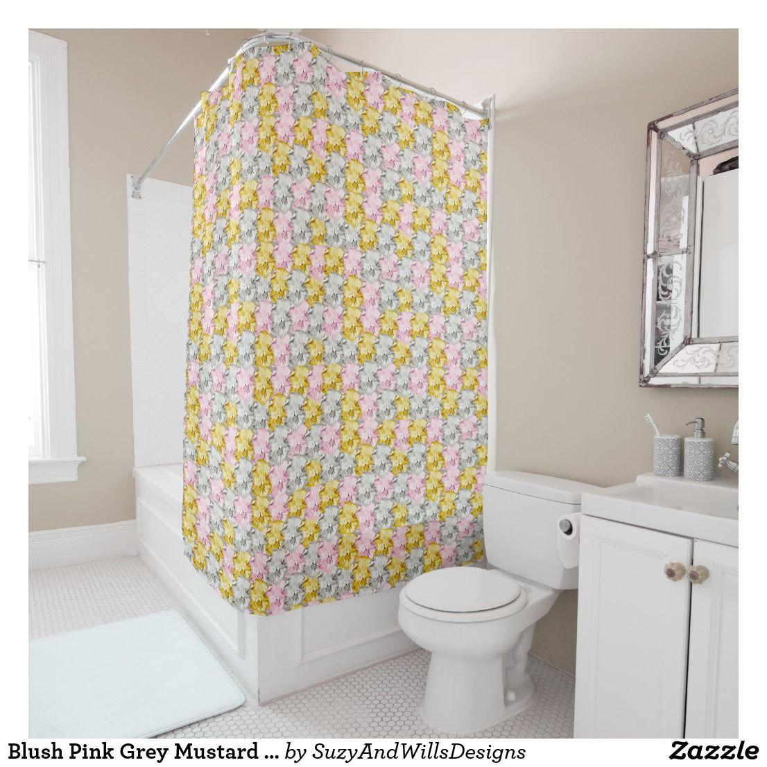Blush Pink Grey Mustard Floral Print Shower Curtai Shower Curtain