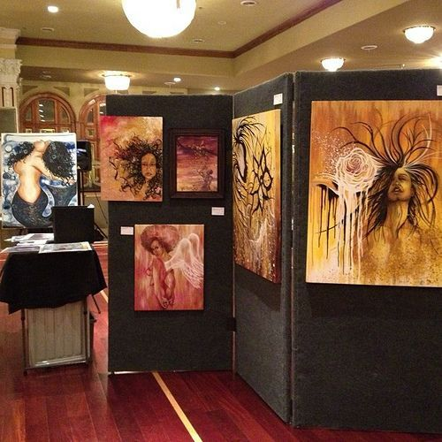 over the past few years i have traveled to several art shows, and creatively found ways to display my work. as a first time outdoor show rookie, i was equipped with only two tables and a few easels...
