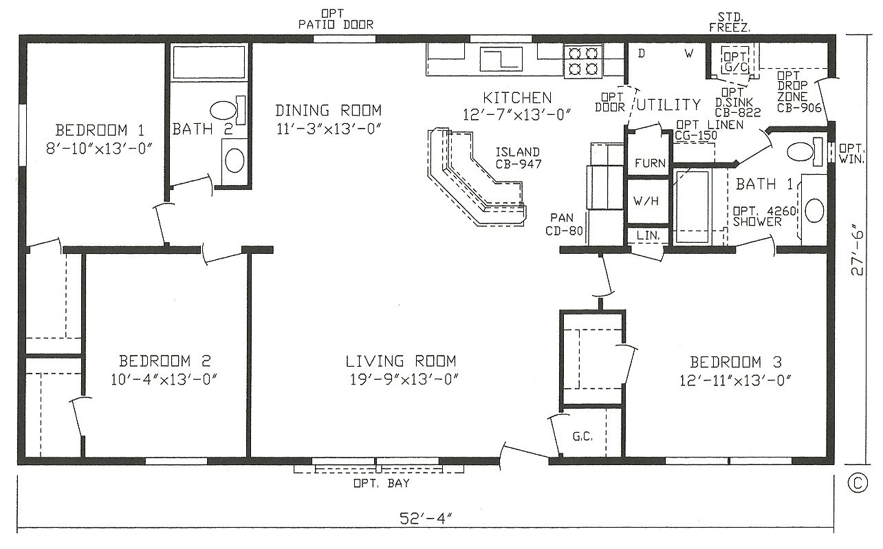 Mobile home blueprints 3 bedrooms single wide 71 for 3 bedroom modular home floor plans