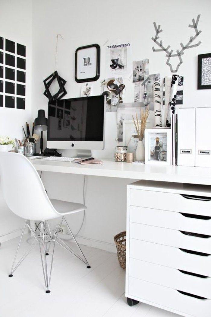 feng shui buero in weiss stuhl computer wanddeko bilder. Black Bedroom Furniture Sets. Home Design Ideas