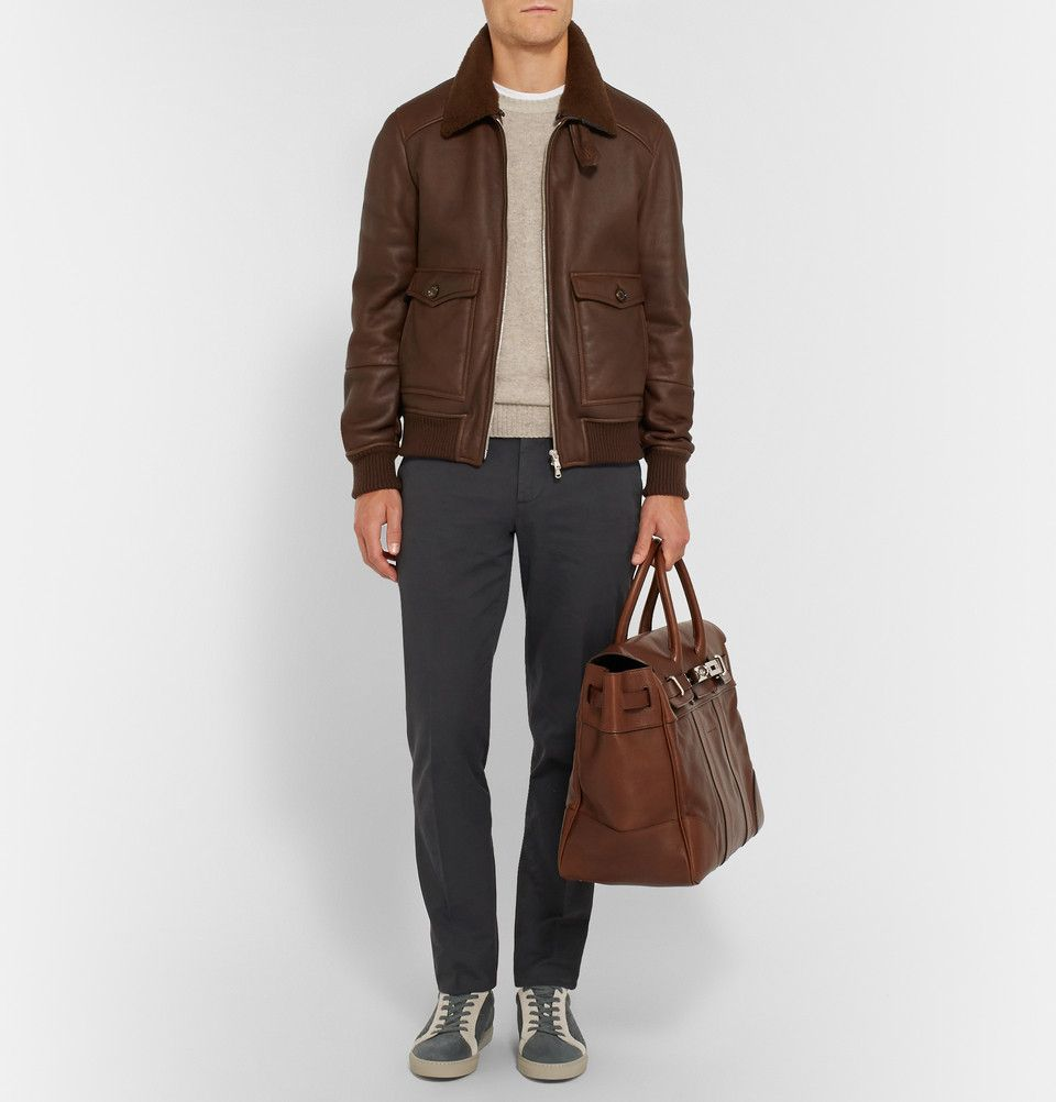 Brunello Cucinelli Shearling Lined Leather Bomber Jacket With Brioni Shirt Berluti Belt And Br Sneakers Men Fashion Comfy Winter Fashion Leather Bomber Jacket [ 1002 x 960 Pixel ]