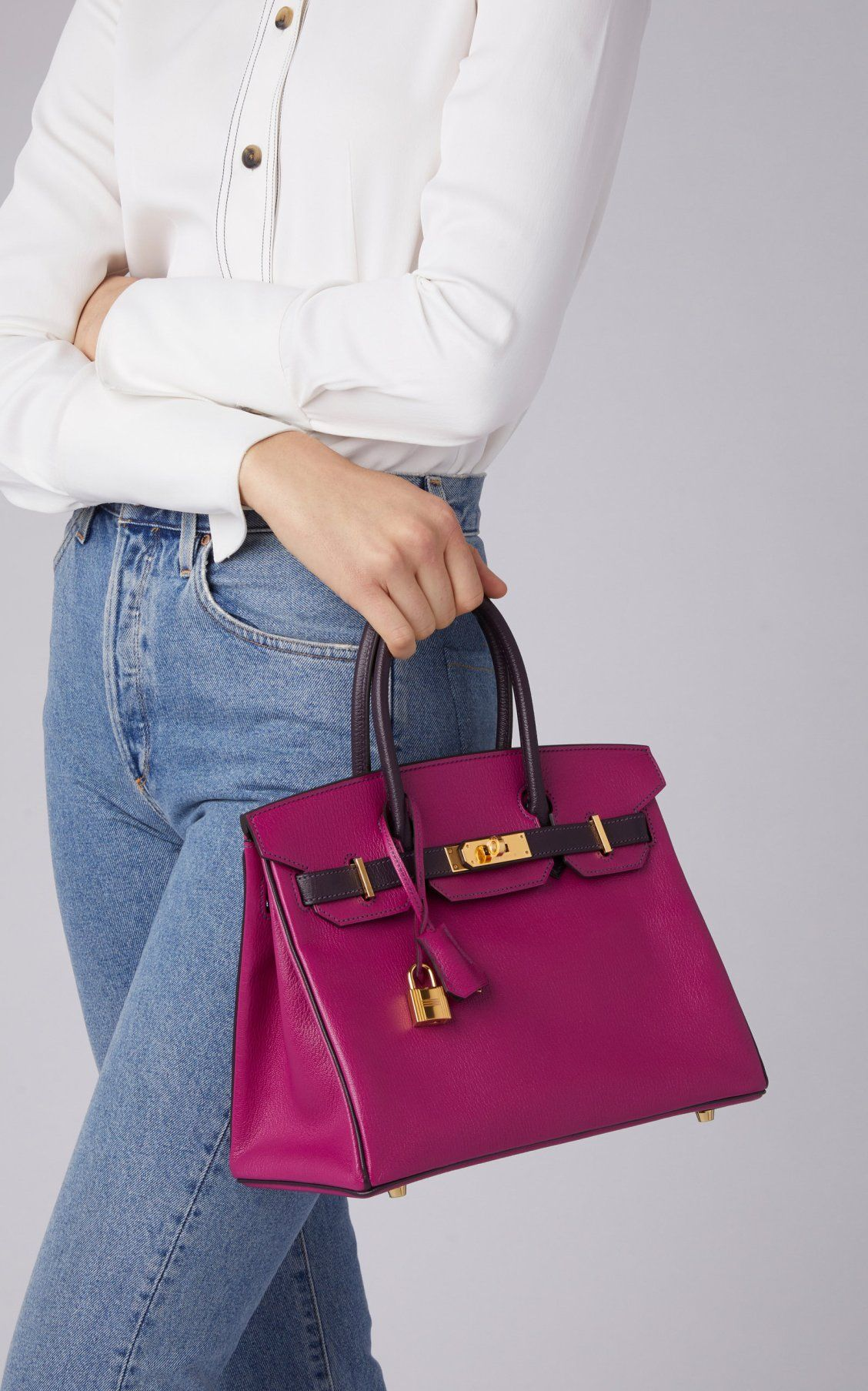 4cf31e3106 Hermès 30cm Rose Pourpre and Raisin Chevre Leather Special Order Horseshoe  Birkin by Hermès Vintage by Heritage Auctions