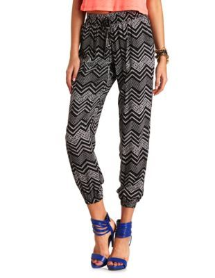 tribal chevron printed jogger pants