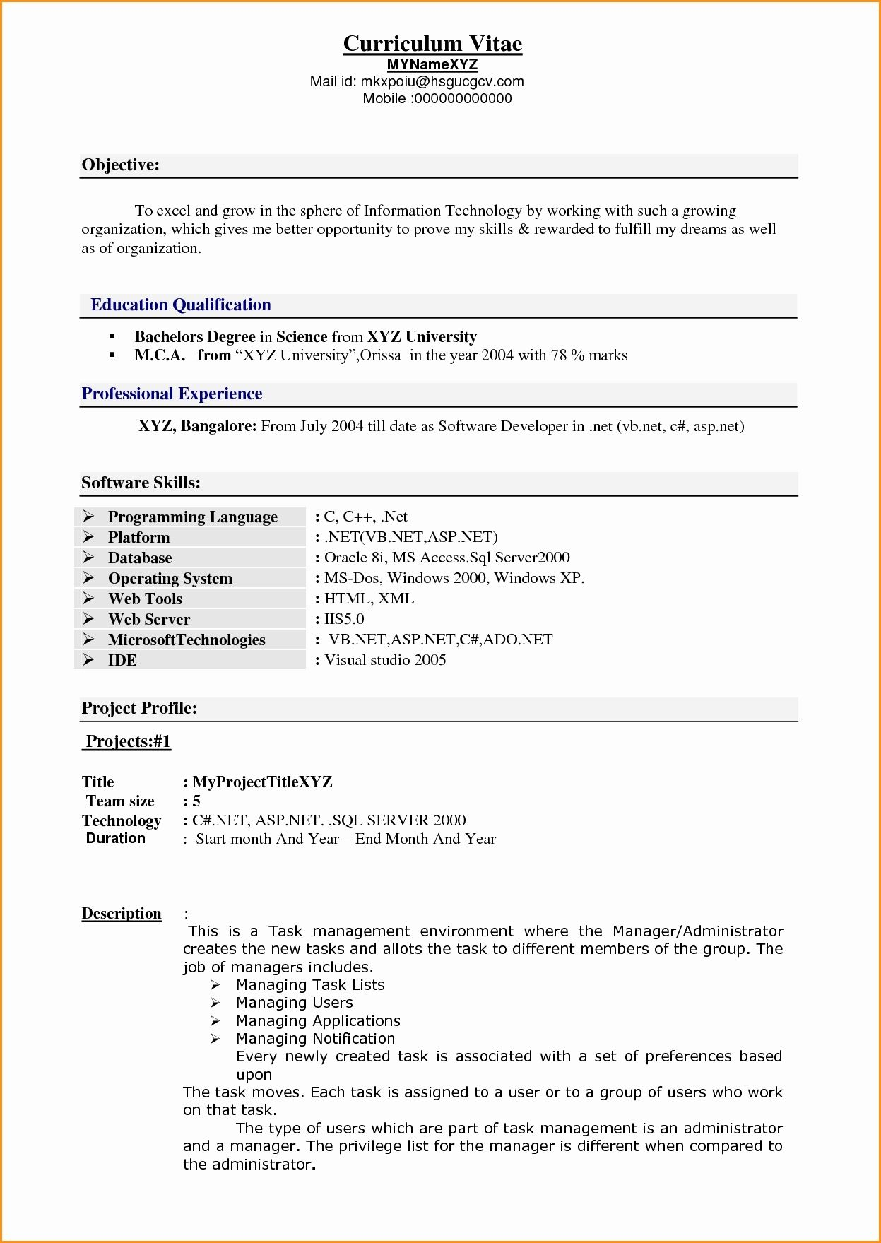 Resume Format 5 Years Experience Resume format, Resume