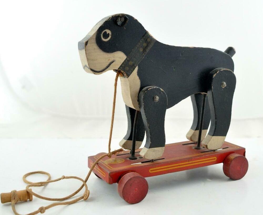 Antique Frantz Usa Wooden Boston Terrier Dog Pull Toy On Metal