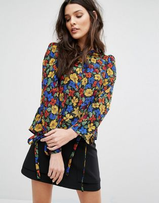 Mango Floral Tie Sleeve Blouse