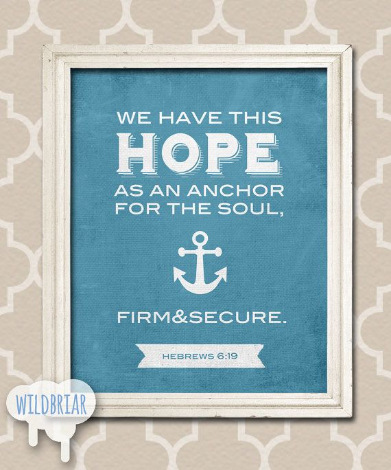 Printable Nursery Wall Art, Scripture Quote Bible Verse, Hope Anchor Soul,  Hebrews 6:19, Nautical Theme Navy Blue Canvas INSTANT DOWNLOAD!